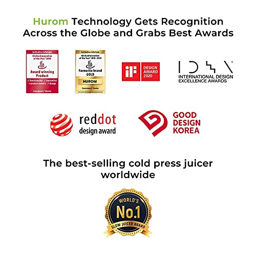 Hurom HP Series Cold Press Slow Juicer with Juice&Smoothie Strainers, 43 Rotation Per Minute, 150 Watts Energy Efficient AC Motor, Patented SST, 2 Strainers (Sandy Gold)