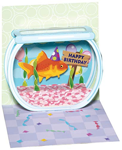 Pop Up 3D Geburtstag Mini Grußkarte PopShot Happy Birthday Goldfisch im Aquarium 7,6x7,6cm