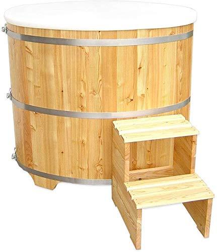 SudoreWell® Sauna Tauchbecken Tauchbottich aus hochwertigem Lärchenholz inkl. Kunststoffeinsatz und Treppe