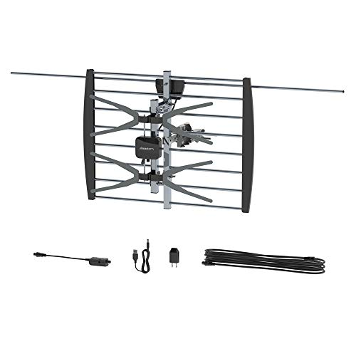 Digital HDTV Outdoor Amplified Antenna - 140 Miles Range - Grids 10 M Open Antenna with Black Stand,Easy to Operate and Install