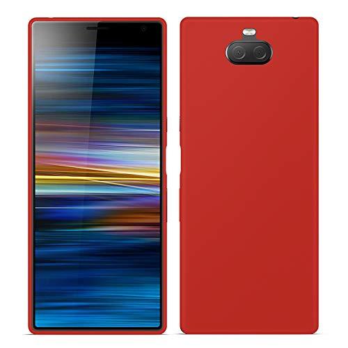 TBOC Rot Gel TPU Hülle für Sony Xperia 10 I3113 I3123 I4113 I4193 [6.0 Zoll] Superdünn Flexibel Silikon Gehäuse für Handy [Nicht Kompatibel mit Sony Xperia 10 Plus]