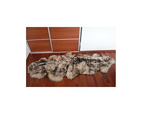 Meryno Weiß/Schwarz Doppel-Lammfell echte natürliche weiche Wolle