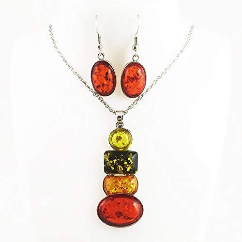 Pendientes De Collar Conjuntos Joyas,Vintage Mujeres Niñas Boho Delicado Frutas Coloridas Cristal...
