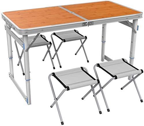 Escritorio de computadora Mesa plegable Mesa de picnic 120x60x70cm aleación de aluminio de camping Altura de la mesa plegable ajustable Formato Maleta Mesa de desayuno ( Color : C-bamboo Color )
