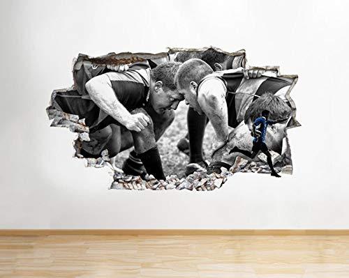 Q146w Wandaufkleber Rugby Scrum Sport Players Kit Smashed Wall Decal 3D Art Sticker Vinyl