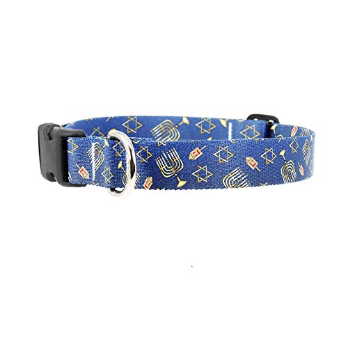 Buttonsmith Hanukkah Dog Collar - Fadeproof Permanently Bonded Printing, Military Grade Rustproof Buckle - Made in The USA