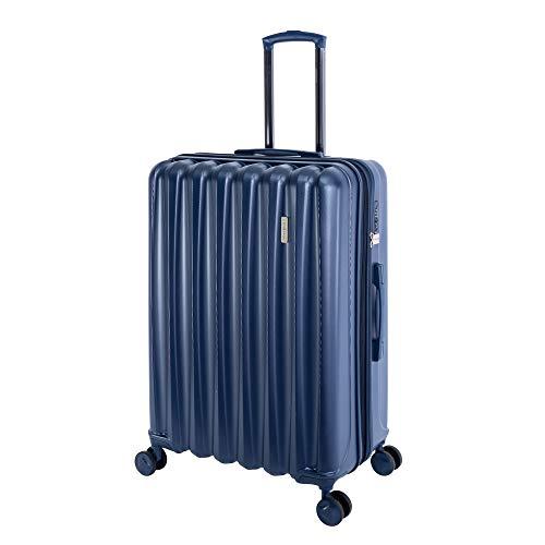 %Sale TRAVELHOUSE - Porto - Hartschalen-Koffer Koffer Trolley Rollkoffer Reisekoffer Erweiterbar Vergrößerbares Gepäck, 4 Rollen, 76 cm, 105 Liter, Blau