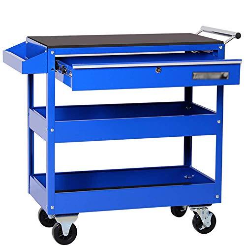 HIGHKAS 3-Tier Tool Trolley Cart Lagerregal Rollschrank DIY Box Garage Werkstatt mit Schublade, Rolling Tool Cart, ideal für Lager, Werkstatt und Garage