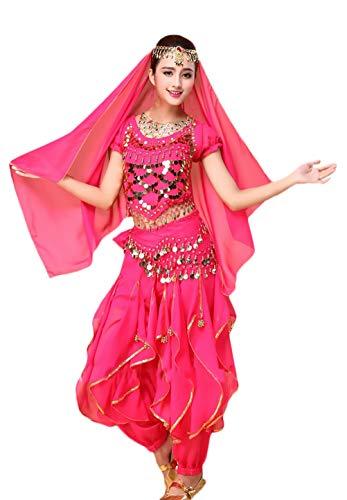 Adelina dames buikdanskostuum met Indiase 4-delig danskleding gouden pailletten Vacation geschenken bovendeel sluier heupdoek broek Belly Indian Dance Costumes carnaval kostuum