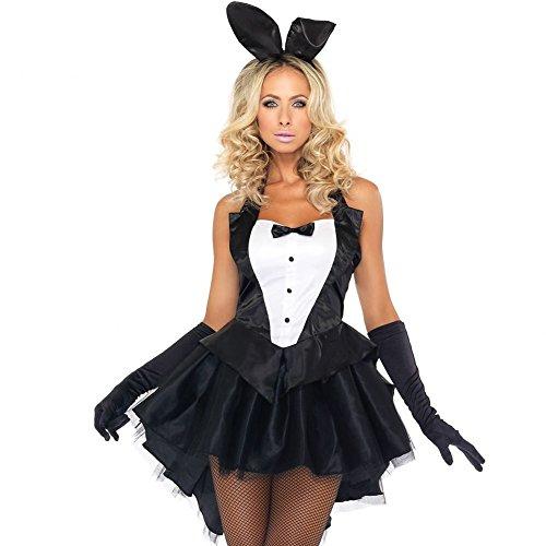 KOET Disfraz de conejito sexy para mujer, vestido de cosplay con parte superior de esmoquin halter, falda, orejas de conejo, disfraz de conejo