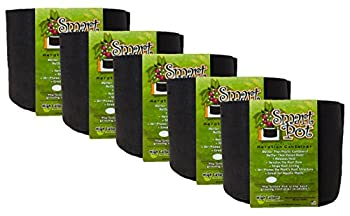 Smart Pot Soft-Sided Fabric Garden Plant Container Aeration Planter Pots 7 Gallon 5 Pack Black
