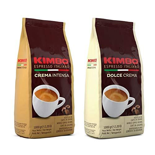 Kimbo ganze Kaffeebohnen Set mit 1 x Crema Intensa und 1 x Dolce Crema - zwei 1kg Beutel