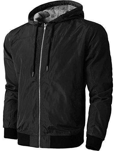 Hat and Beyond Mens Windbreaker Lightweight Two Tone Hooded Slim Fit Jacket (1ks20_Black, XX-Large)