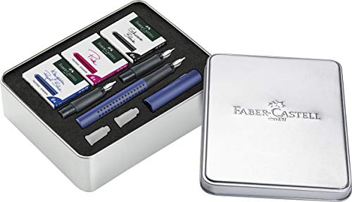 Faber-Castell 201507 - Kalligrafie Set Grip 2011, Füller mit drei verschiedenen Federstärken, je 6 Patronen schwarz, pink und königsblau