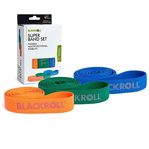 BLACKROLL® SUPER BAND, Set da 3 bande elastiche fitness per rinforzo dei muscoli, Fascia elastica per lo sport lunga 104 cm, blu, verde e arancione