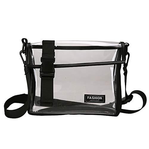 Andouy Mädchen Mode Transparente Straße Persönlichkeit vielseitige Schulter Messenger Bag(Schwarz)