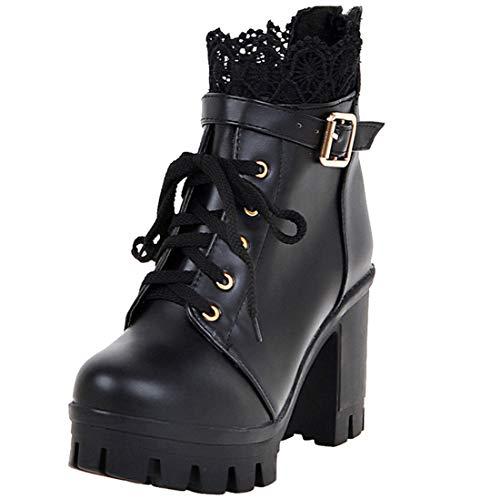 LUXMAX Damen Blockabsatz High Heels Schnürstiefeletten Chunky Heels Ankle Boots mit Schnürung Spitze Schuhe(Schwarz 38)