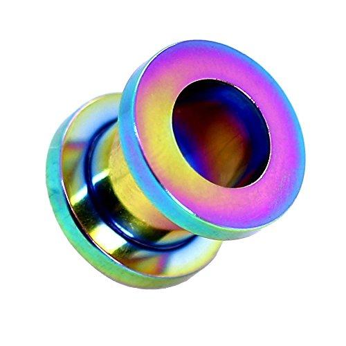 Expansor Túnel Flesh Tunnel Plug Piercing Dilatación Oreja Acero Set o Pieza 1.6-10mm Color Arco iris, Farbe2:rainbow/arc-en-ciel - 2mm