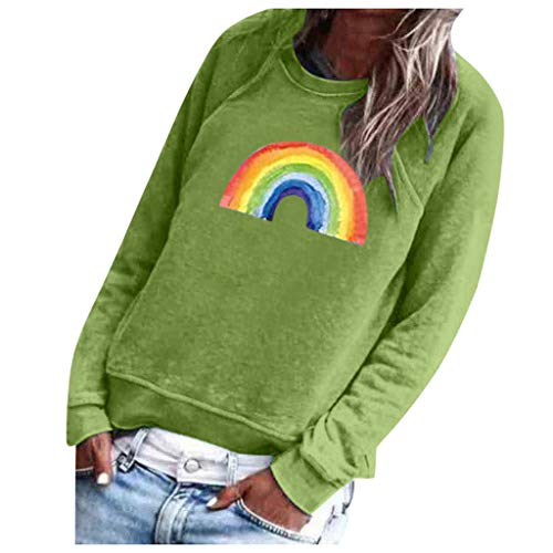FEISI22 Womens Rainbow Printed Sweatshirts Oversized Long Sleeve Graphic Tees Pullovers
