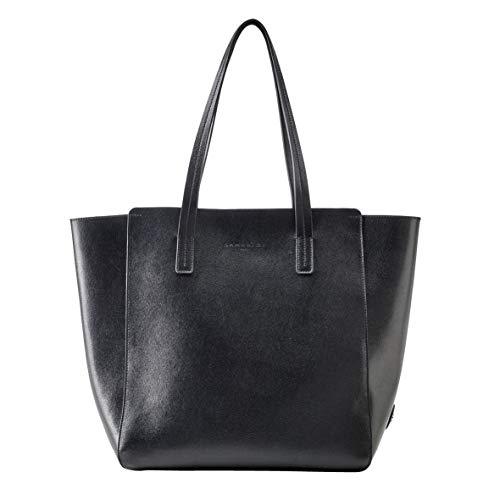 LAMARTHE PARIS - Elegante Echtleder Damen Handtasche, Designer Shopper Tasche für Frauen, inkl. Staubbeutel, Schwarz