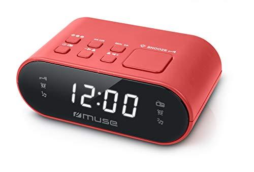 MUSE M-10 Radiowecker mit DAB+/ FM, Zwei Alaramen und Dimmer rot