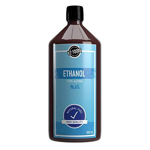 V2 FOODS 1000 ml Bio Ethanol >96,6% Prozent Premium Alkohol für DIY Sets, Ethanolkamine Gelkamine Bambusfackeln rückstandslose Verbrennung