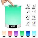 Lampe de Chevet Tactile, Rechargeable Lampe de Table Enceinte Bluetooth LED Multicolore Luminosité Réglables FM Radio...
