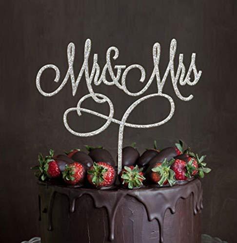 """Decorazione per torta nuziale a forma di cuore con le parole """"Mr"""" e """"Mrs"""", in acrilico, confezione da 1 pezzo"""
