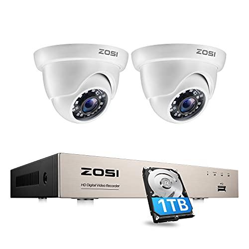 ZOSI Kit de Videovigilancia 4CH 2MP H.265+ Grabador DVR con 2x Cámara de Seguridad Exterior, Visión Nocturna, Detección de Movimiento, 1TB HDD