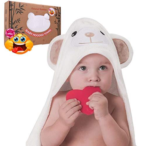 KPRICE Gorro de baño para bebé con capucha, 90 x 90 cm, 100 % franela de bambú, ultrasuave, absorbente, para niños y niñas, incluye 1 toalla de cara, tiempo de baño, idea de regalo (OursBrun)