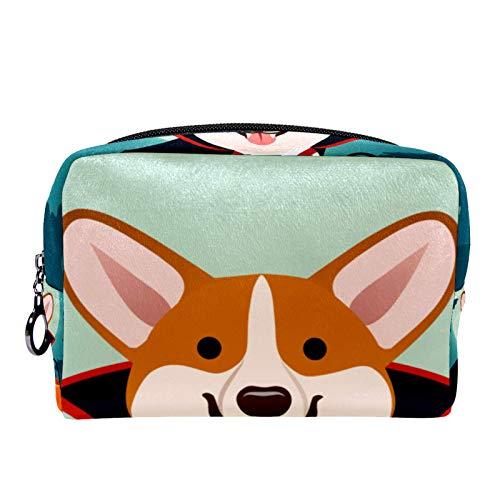Bolsa de maquillaje para disfraz de vampiro, para Halloween Corgi Dog en bolsa de maquillaje para mujer, cuidado de la piel, prctico bolso con cremallera
