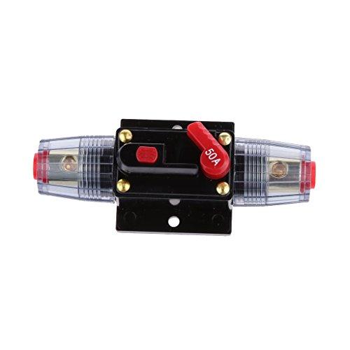 Shiwaki Interruptor Fusible de Ajuste Manual En Línea de Circuito Automático 12-24V DC Portafusibles de Audio Estére-o - 50A 01