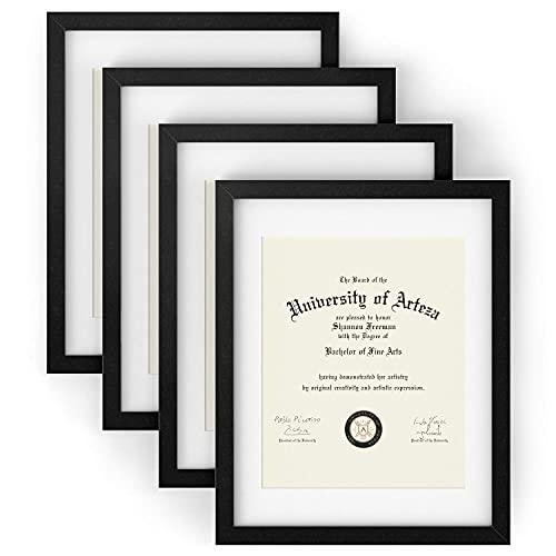 Arteza Marcos para diplomas   27,9 x 35,6 cm (21,6 x 27,9 cm con recuadro)   Paquete de 4 marcos   Portafotos con acabado en madera   Frontal de cristal   Marcos de foto para diplomas y certificados