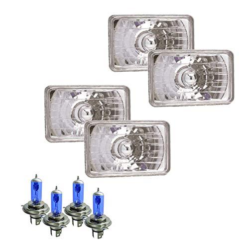 Parts N Go 4x6 in Rectangular Diamond Cut Conversion Headlights Halogen H4 Bulb Set - H4656, H4651
