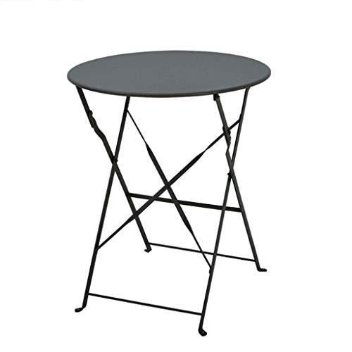 LPYMX Tragbarer Klapptisch Bügeln Sie den runden Tisch, der Freizeittisch und Stuhl, Kaffeehaus-Balkontisch im Freien faltet Laptop Klapptisch (Color : Black)