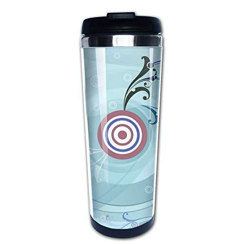 Taza de café de Acero Inoxidable Taza de café Reutilizable Adecuada para Viajes y Trabajo al Aire Libre Taza Tazas,Patrón de objetivo circular