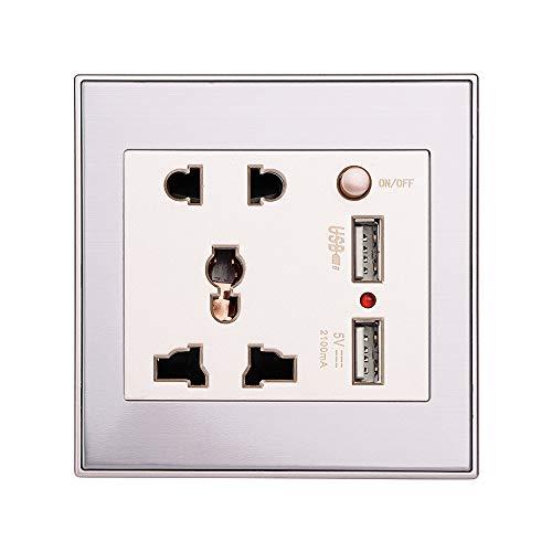 Acouto Socket de Enchufe de Pared USB, 13A con 2 tomacorrientes de Pue