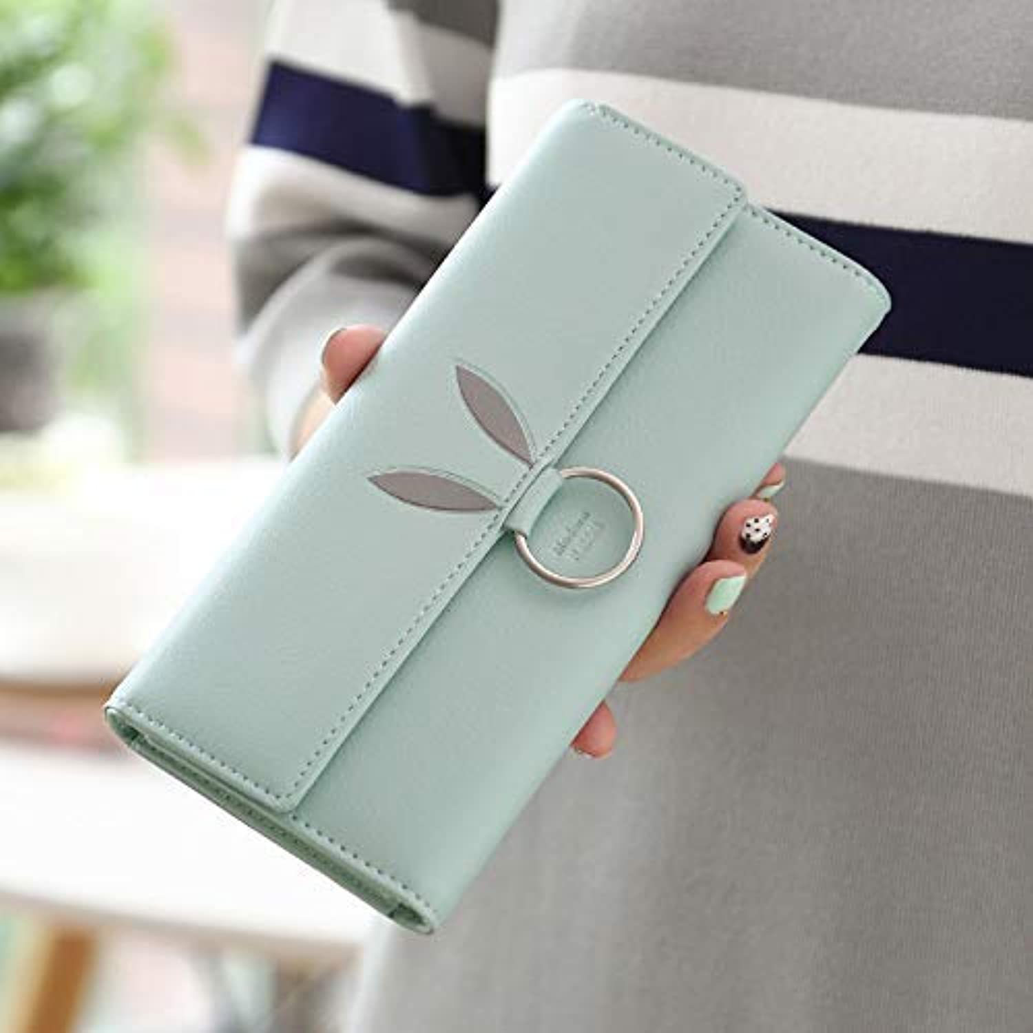 New Wallet Female Long Section Japanese and Korean Students Simple Three fold Ring Fashion Women's Wallet Clutch (color   Green) Ladies Purses (color   Green)