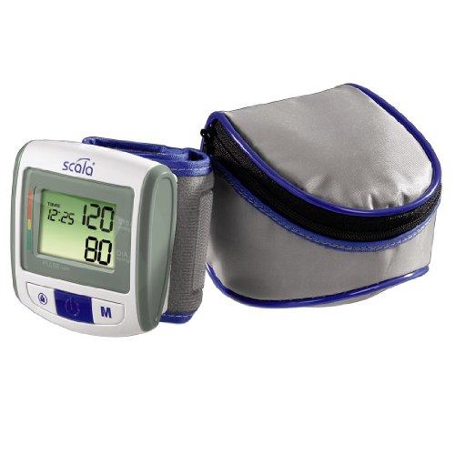 Scala Blutdruckmessgerät SC7100, für Handgelenkmessung, großes LCD-Display, vorgeformte Manschette für das Handgelenk, 2x 50 Speicherplätze, mit Aufbewahrungstasche, grau