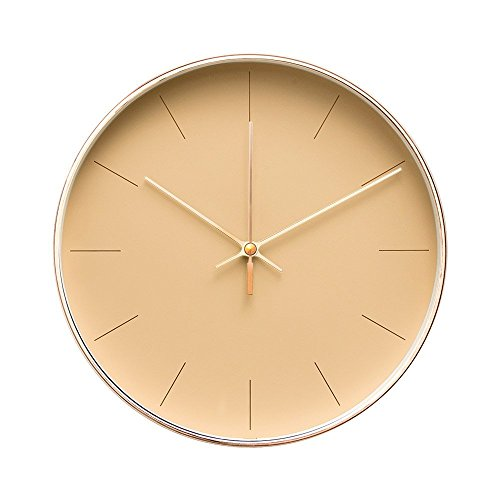 """Arospa minimalist design contemporary cream palette 9. 5"""" non-ticking silent wall clock with rose gold frame (latte)"""