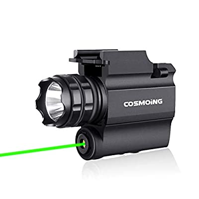 COSMOING Rail Mounted 600 Lumen Weaponlight with Green Light and White LED, Long Beam Distance Tactical Light with Quick Release, Powered by CR123A Battery
