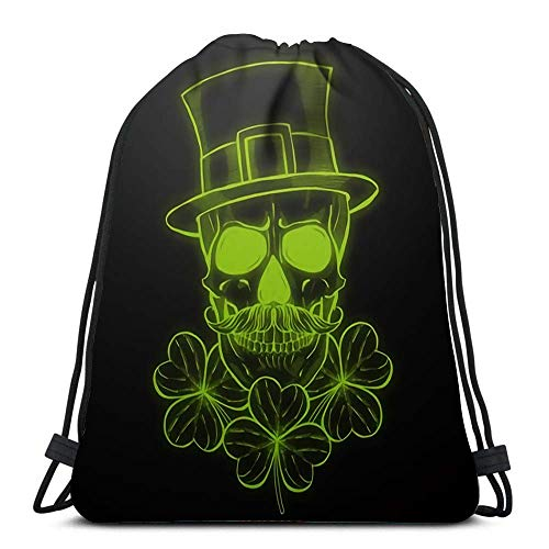 Hdadwy Drawstring Backpack Bags Sports Cinch Line Art Handdrawn Angry Skull of Leprechaun with Beard Hat and Clover Leaves for School Gym