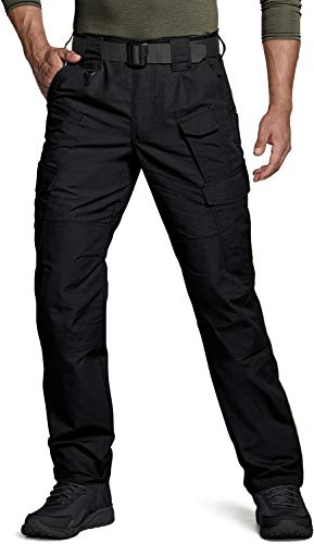 CQR CLSL Men's Tactical Pants, Water Repellent Ripstop Cargo Pants, Lightweight EDC Hiking Work Pants, Unique(tlp109) - Black, 36W x 32L