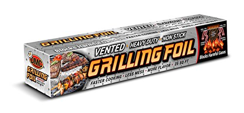 BBQ Grilling Accessories Heavy Duty Vented Holes Non Stick Aluminum Grilling Foil 25 SQFT