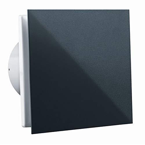 Vlano 125 Simple T weiß / Alu / schwarz Front Badlüfter Timer Nachlauf Haus-Lüfter Ventilator Raumlüfter (Ø 125 mit Timer / Nachlauf, schwarz)