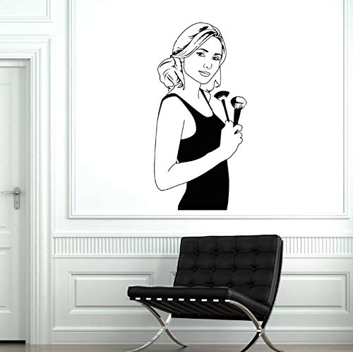 Wandaufkleber aus Vinyl für Make-up-Künstler, Schönheitssalon, Stylistin, Mädchen, Frau, Kosmetik, Wandkunst, Wandbild, Make-up, Poster, Tapete 71 x 147 cm