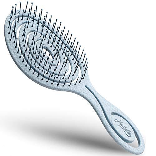 Ninabella® Bio Haarbürste ohne Ziepen, Profi Entwirrungsbürste, Einzigartige Detangler-Bürste mit Spiralfeder, Blau