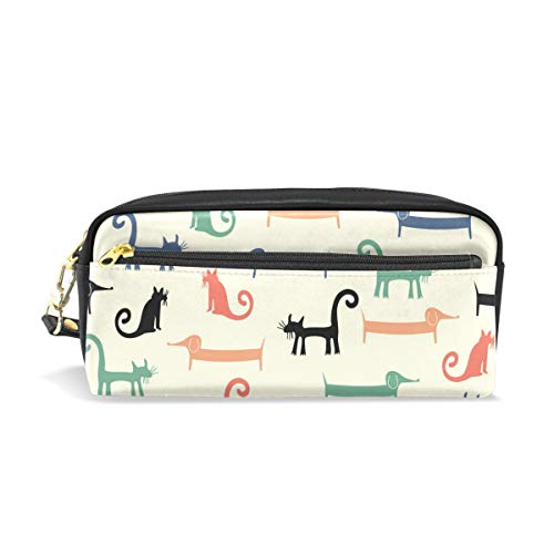 CIXUAN Cute Pencil Case - Cartoon Cat and Dog Pencil Pouch Stationery Organizer Multifunction Cosmetic Makeup Bag, Perfect Holder for Pencils and Pens