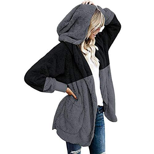 VJGOAL Damesjas, hoge kwaliteit casual plus size splicing grote lange bovenstukken vooraan met capuchon zachte pluche drapeerde zakken gebreide jas