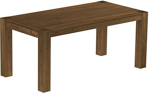 Brasilmöbel Esstisch Rio Kanto 180x90 cm Nussbaum Pinie Massivholz Größe und Farbe wählbar Holztisch Küchentisch Echtholz Tisch ausziehbar vorgerichtet für Ansteckplatten